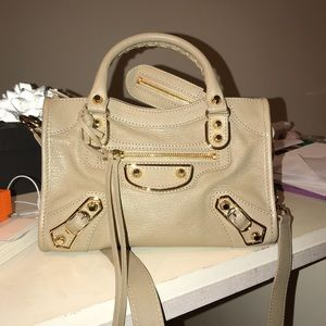 Balenciaga city beige gold hardware